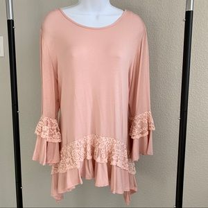 Notations Pink Top Lace Detail NWT Size XL